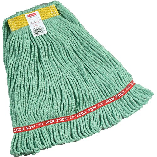 Rubbermaid Commercial Web Foot Wet Mop, Small, 1-Inch Yellow Headband, Green (1 Quart Bouncer)