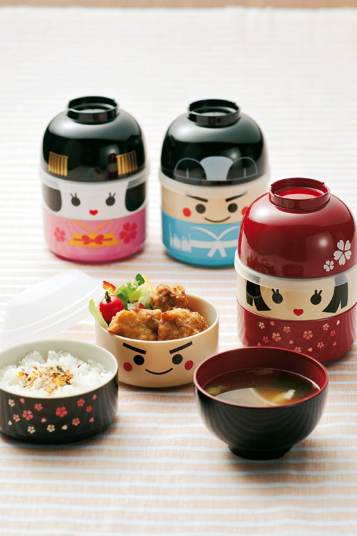 JoliBento Plastic ABS BPA Free Kokeshi Ninja Bento Lunch Boxes, Brown Hakoya 3311