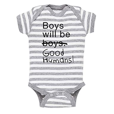 8122f880 Amazon.com: Free to Be Kids Boys Will Be Good Humans Baby Onesie: Clothing