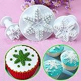 Lemoning 3Pcs Snowflake Cake Decorating Fondant Plunger Cutters Mold Mould Cookies Tools