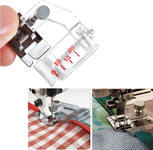 Snap on Adjustable Bias Tape Binding Foot for Domestic Sewing Machine Durable