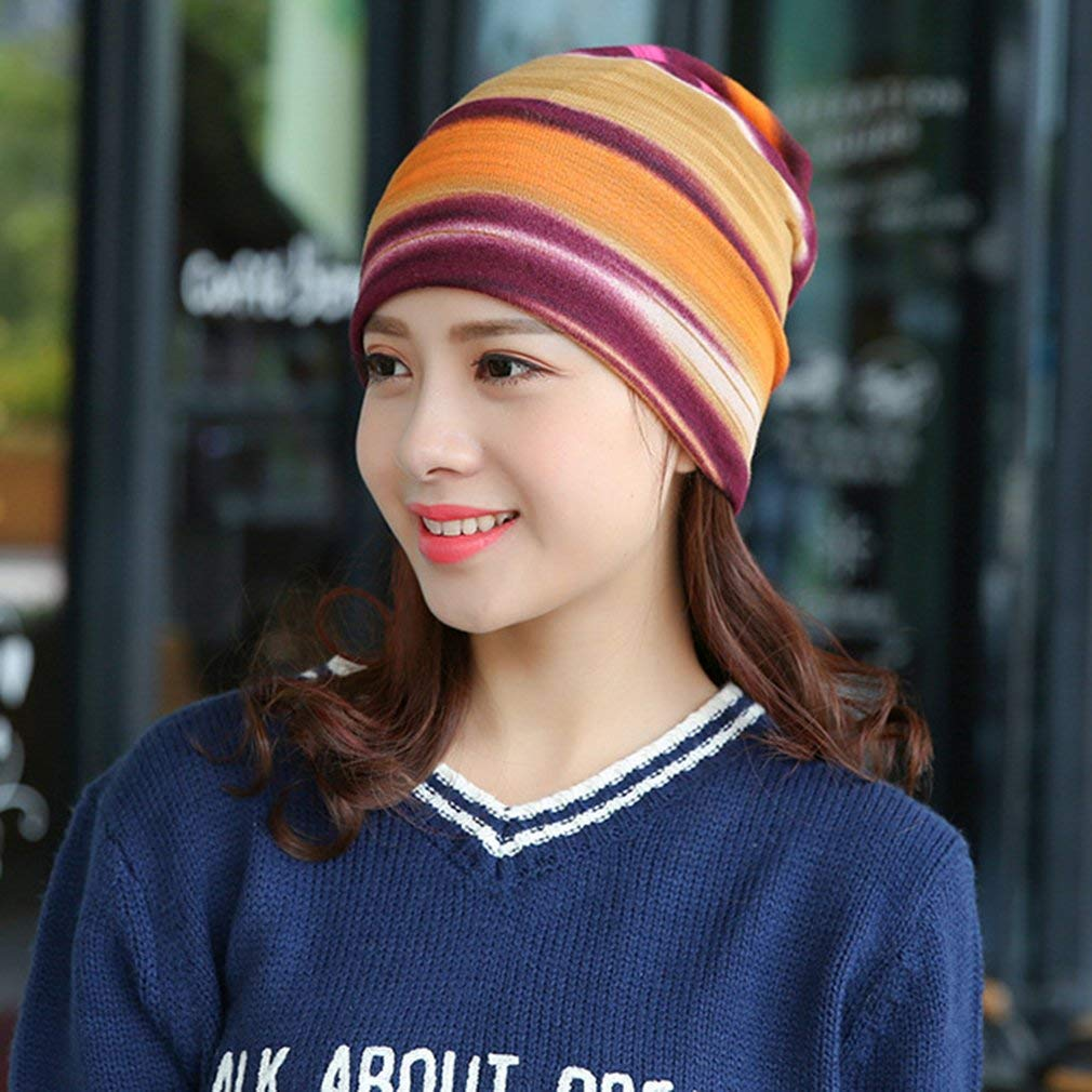 DierCosy Multi-Use Knitted Scarf & Winter Hats Striped Beanies Fashion Female Scarf Hat