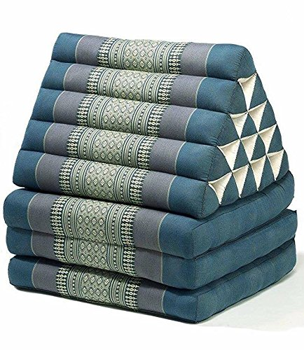 Jumbo Size Thai Handmade Foldout Triangle Thai Cushion, 73x18x3 inches, Blue Kapok Fabric, Brown Cream, Premium Double Stitched, Products From Thailand by WADSUWAN SHOP