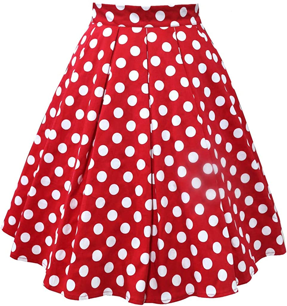 LAsimi Women's High Waist Pleated Skirt Polka Dot Print Adult Ballet Tutu Dancing Skirt Solid Color Skirt G-red