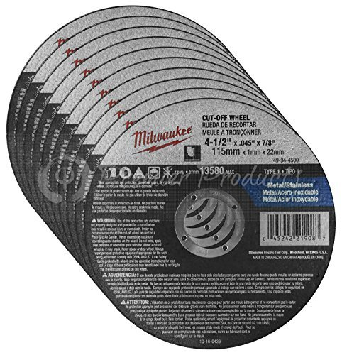 "Milwaukee 10 Pack - 4 1 2 Cutting Wheels For Grinders - Aggressive Cutting For Metal & Stainless Steel - 4-1/2"" x .045 x 7/8-Inch 