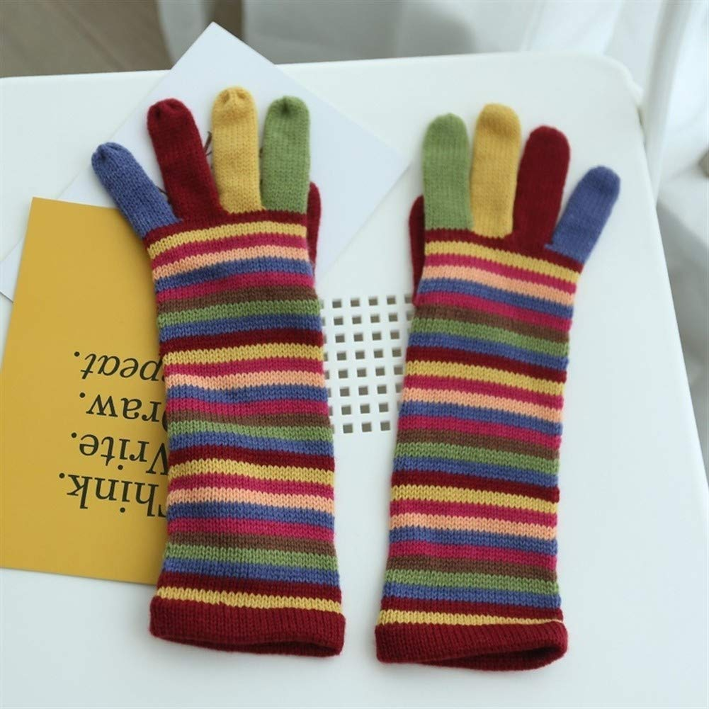 Cold-proof Winter Wool gloves Rainbow Striped Wool Cycling Cold Knit Wool gloves Cozy Color : Multi-colored, Size : One size