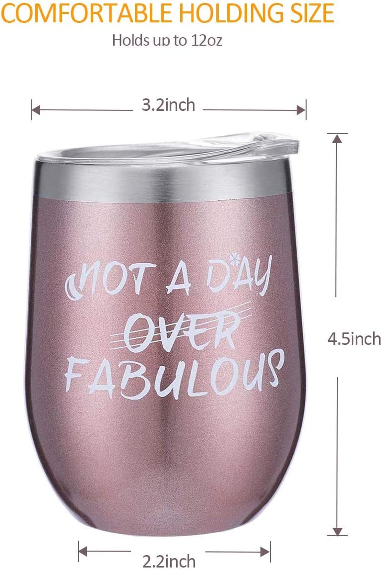 Rose Gold Insulated Wine Tumbler|Not a Day Over Fabulous Stainless Steel Wine Glass with Lid|If You Can Read This,Bring Me Some Wine Socks Birthday Gift Set for Women,Wine Lovers