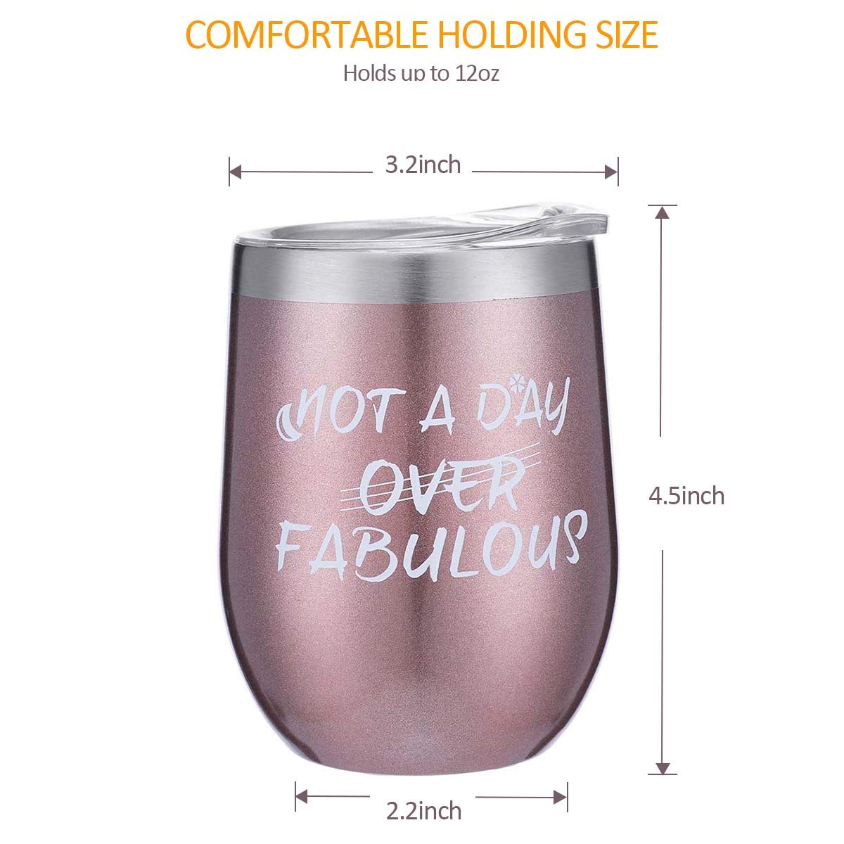 Cupcake Wine Socks Gift Set 12 oz Double Insulated Stemless Wine Glasses with Lid and Sayings Not a Day Over Fabulous Birthday Gifts for Women Friends,Blue Stainless Steel Wine Tumbler