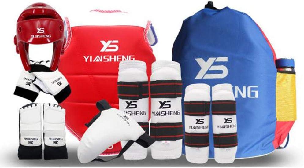 Sparring Ausr/üstung ZLBZBB Taekwondo Kampfsport Boxen Gear Set mit Tasche Schutzanzug Rot Erwachsene Kinder Berufsausbildung