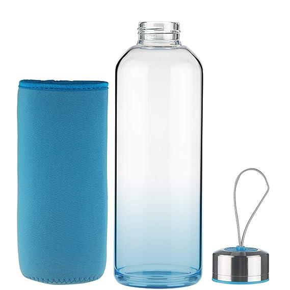 FCSDETAIL Botella de Agua de Cristal sin BPA, Botella de Agua de Vidrio de Borosilicato con Funda de Neopreno con Tapa de Acero Inoxidable 550ml / 1000ml: ...