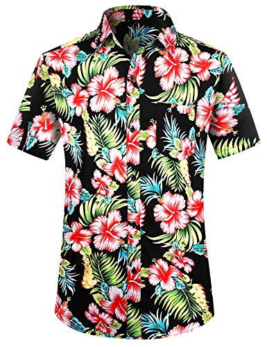 PEGENO Men's Flower Casual Button Down Short Sleeve Hawaiian Shirt (3X-Large, Red Hibiscus)