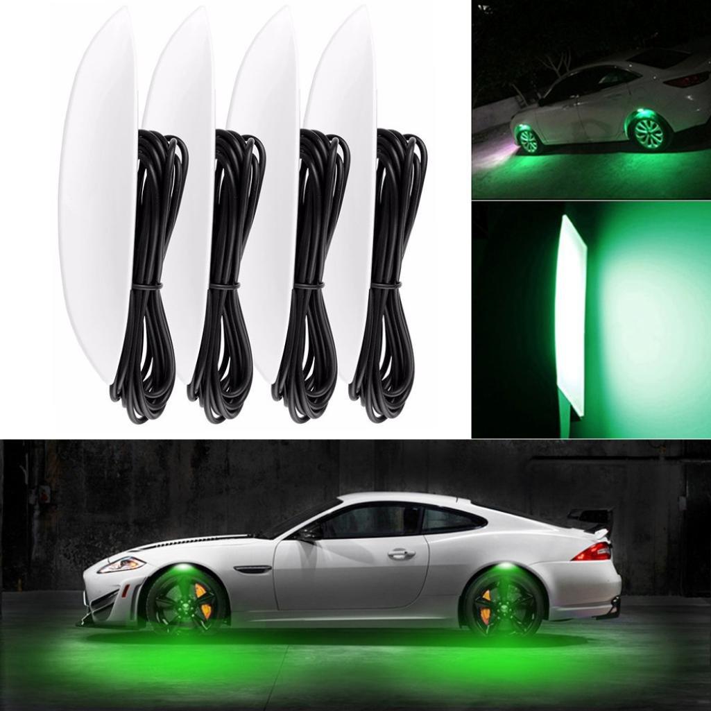DZT1968 4pcs/lot Car SMD 2835 LED Wheel Lights Tire Light Atmosphere Lamp Daytime Running Lights (Green)