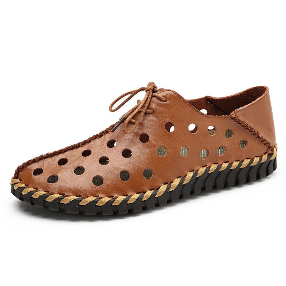 Zapatos de Verano ahuecados para Hombres Zapatos Respirables Hechos a Mano 39 1/3 EU|Marrón