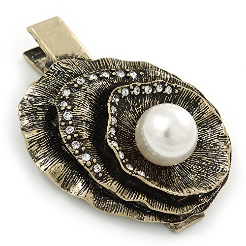Vintage Inspired Clear Crystal, Pearl Hammered Shell Hair Beak Clip/ Concord Clip/ Clamp Clip In Bronze Tone - 60mm ()