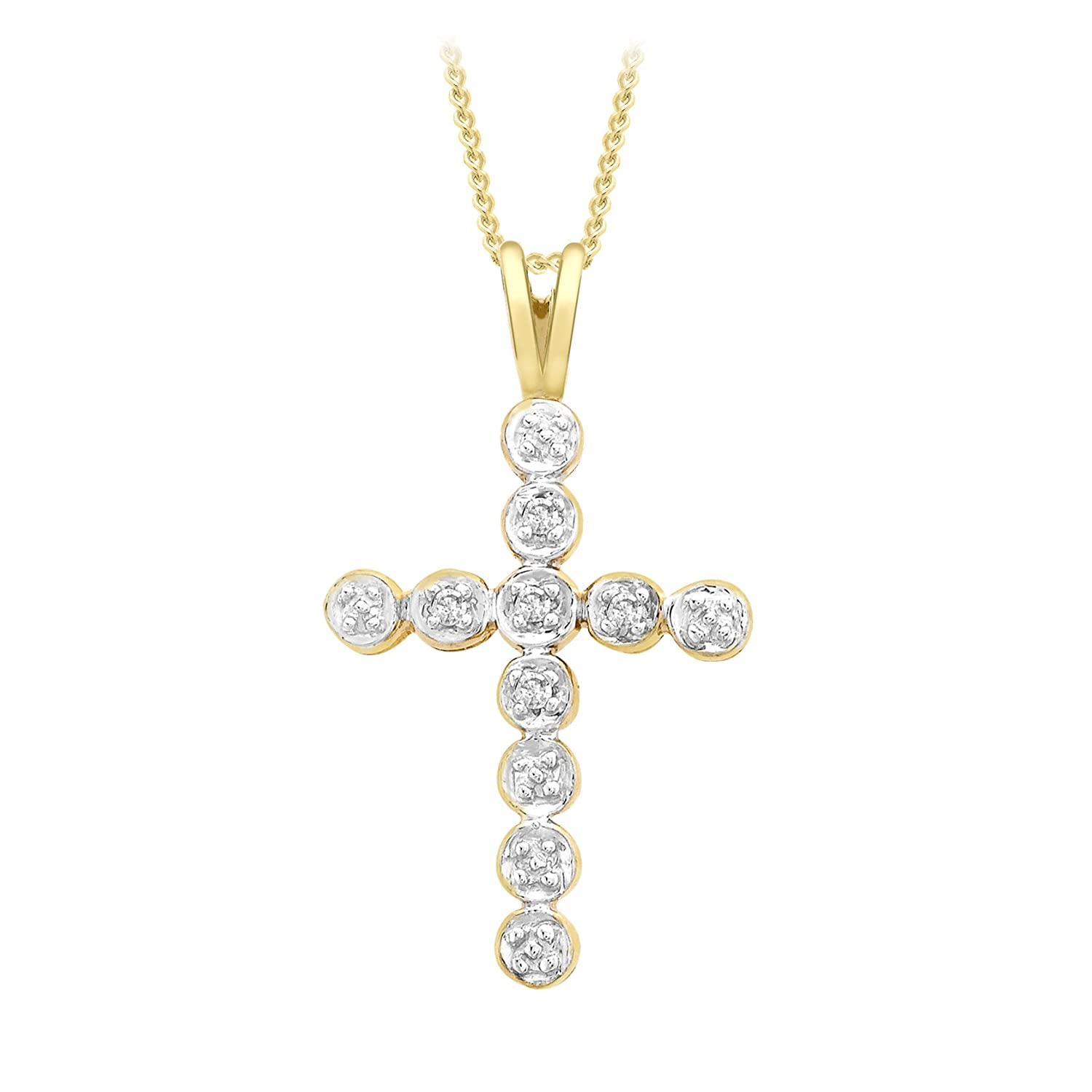 68f3175c84684 Carissima Gold 9 ct Yellow Gold Diamond Cross Pendant on Chain Necklace of  46 cm/18 inch