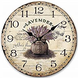 Rustic Wooden Clock, Eruner Retro Antique Style 16-inch Wall Clocks Watches Timepieces for Kitchen Wall Living Room Beauty Room Newly Decorated Office Wall Clock
