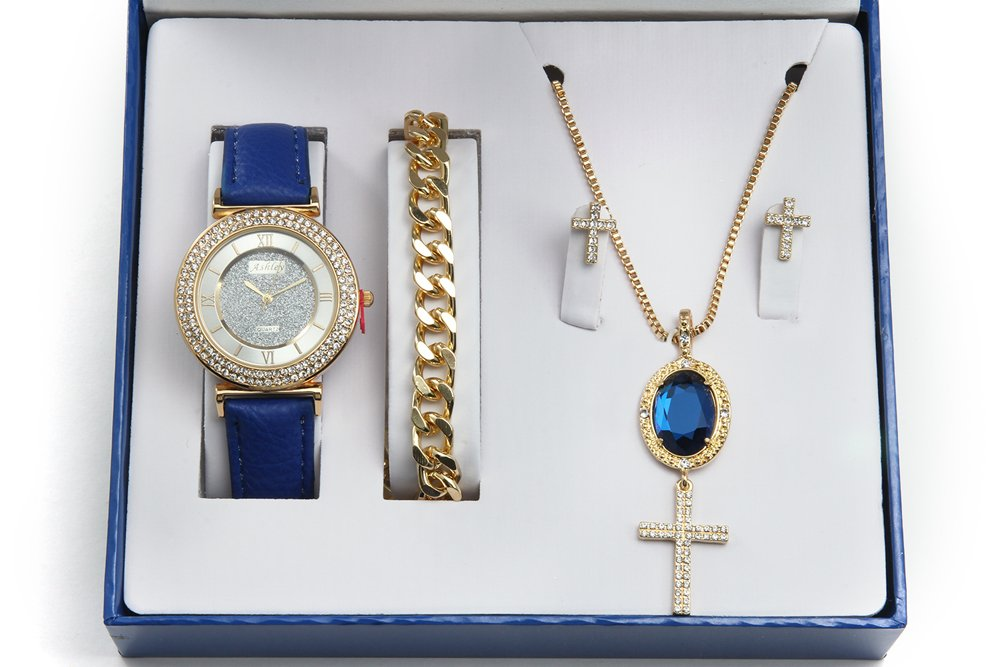 Sapphire Gem Pendent Iced Out Cross Necklace, Earrings, Gold Bracelet & Ladies Watch - CR7936 Sapphire
