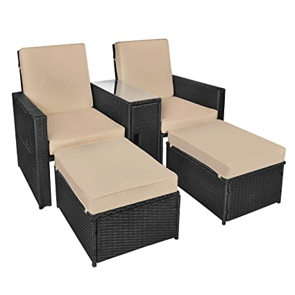 Fabulous B Baijiawei 5Pcs Patio Wicker Loveseat Outdoor Rattan Sofa Set With Cushion Adjustable Lounge Chair With Ottoman Footrest Wicker Furniture For Alphanode Cool Chair Designs And Ideas Alphanodeonline