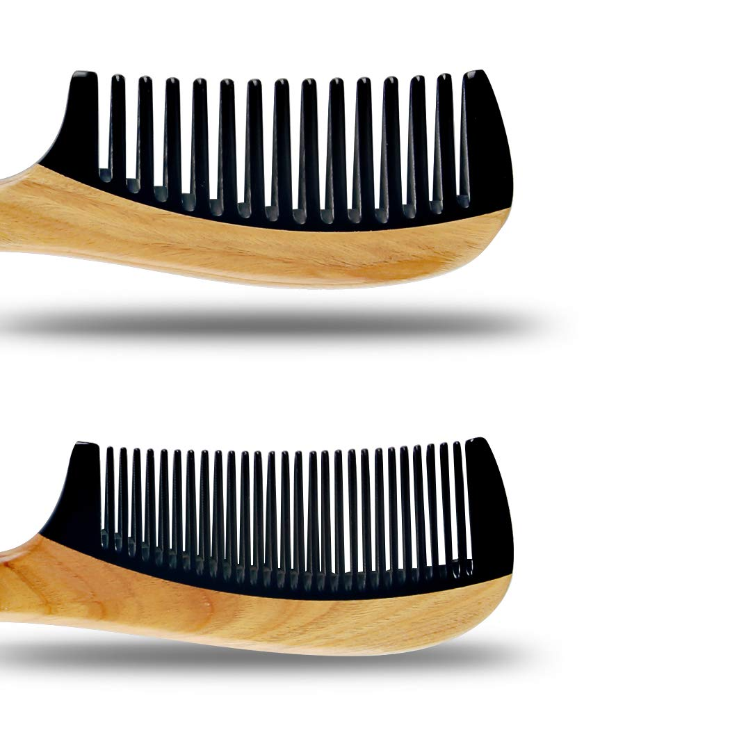 Wooden Hair Combs [Gift Box] – pureGLO Anti-Static Detangling Comb Set for Men Women Kids - Fine and Wide Tooth Combs for Straight Curly Wavy Dry Wet Thick or Fine Hair by pureGLO (Image #2)