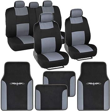 Auto Vehicle Seat Cover Floor Mats Combo Gray