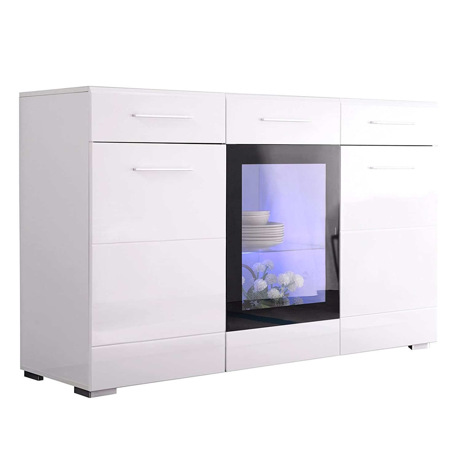 mecor Sideboard Cabinet Buffet w LED Light, Kitchen LED Storage Cabinet Server Console Table, High Gloss w 3 Cabinets 2 Drawers White
