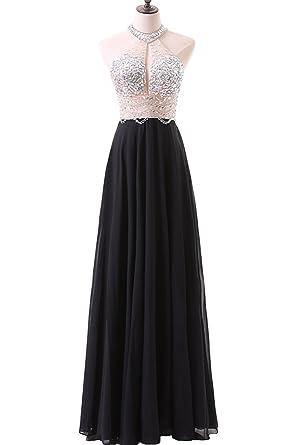 KaBuNi Womens Chiffon Beaded Maxi Prom Dresses Halter Evening Dress Black2