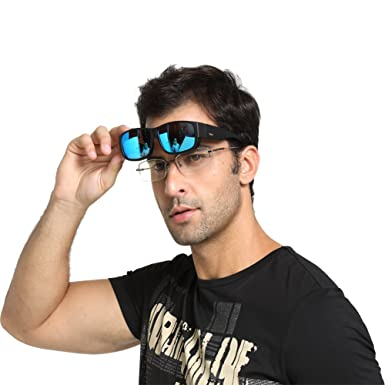 0fc6e24998f Duco Unisex Wear Over Prescription Glasses Rx Glasses Polarized Sunglasses  8956 (Black Frame Revo Blue Lens)  Amazon.co.uk  Clothing