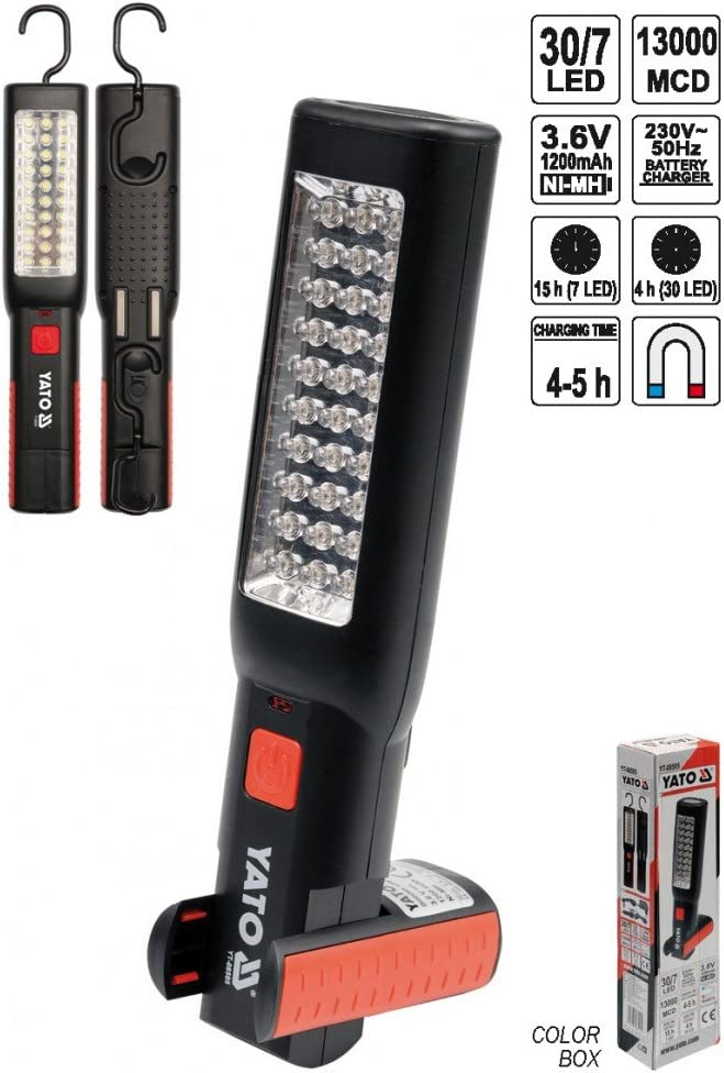 7 LED Werkstattlampe Stablampe Handlampe Arbeitslampe Akku Leuchte Lampe mit 30