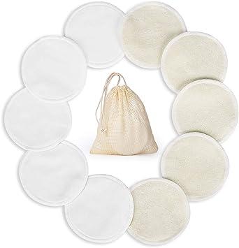 16 PCS Tampons D/émaquillants Bambou Tampons D/émaquillants Lavable Microfibre Disque d/émaquillant lavable bio R/éutilisable Tampons D/émaquillants en Coton /écologique