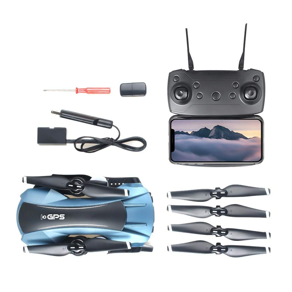 Drone,RC Quadcopter with Bag,GPS Drone with Camera Live Video,Lucoo Drone 2K 1080P 5G WiFi FPV 65-GPS Foldable Arms RC Quadcopter Drone for Kids Adults (Blue) by Lucoo
