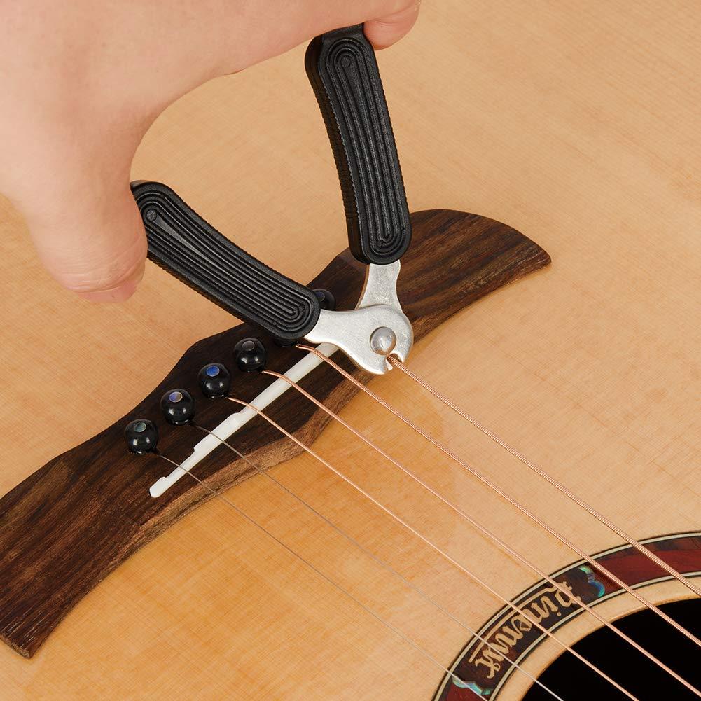EastRock Acoustic Guitar Bridge Pins 6 Piece Black /& Ivory String Winder/with Bridge Saddle and Nut