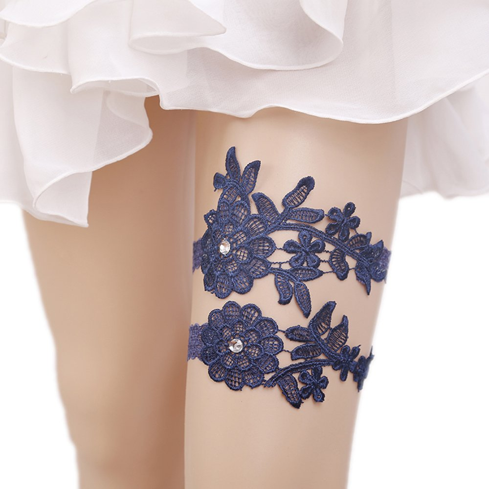 WoodBury Wedding Garter Set One to Toss and One to Keep Blue Wood Bury