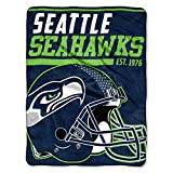 The Northwest Company 1 Pc, Seattle Seahawks Blanket 46x60 Micro Raschel 40 Yard Dash Design Rolled, Acrylic & Polyester, Extra Warm & Superior Durability, Easy Care, Machine Washable & Dryable