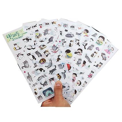 Freessom 6 Fiches Autocollant Stickers Adhésif Transparent Kawaii Chat Petit Personnage Fille Animaux Cartoon Dessins Décoration De Calendrier Album