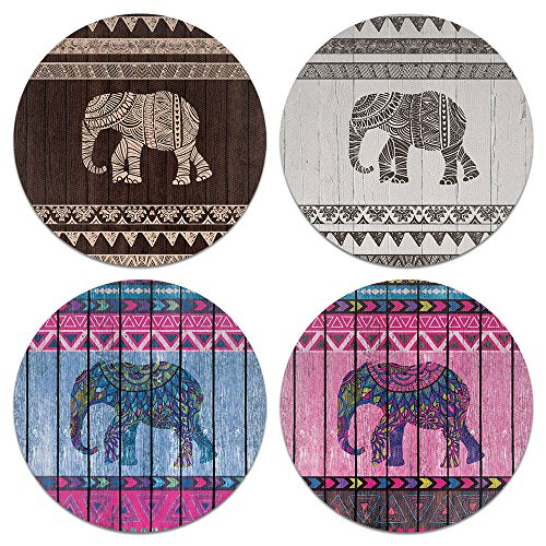 CARIBOU Coasters Elephant Aztec Design Absorbent Neoprene Coasters for Drinks, 4pcs Set