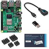 Raspberry Pi 4 con adaptadores USB-C y micro HDMI y libro electrónico Vilros Quickstart Guide (8 GB)