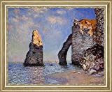 "The Rock Needle and the Porte dAval by Claude Monet - 21"" x 26"" Framed Premium Canvas Print"