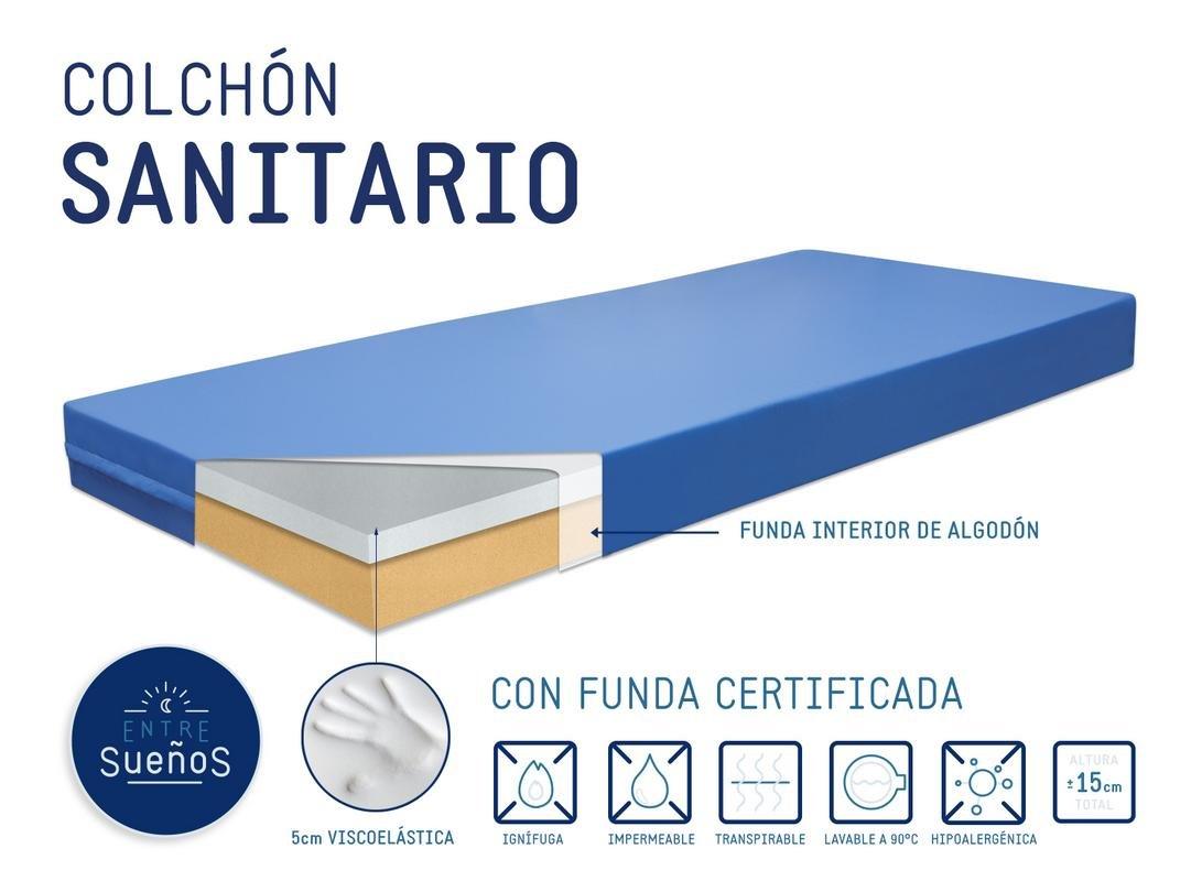 Colchón Colchones Sanitario/Geriatrico con 5cm de Viscoelastica | Viscoelástico Camas articuladas | Hospitalario | Anti escaras | Prevención de llagas ...