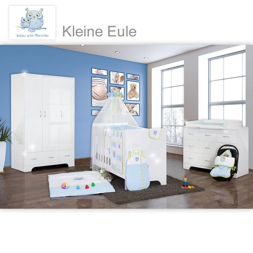 Hochglanz Babyzimmer Memi 18-tlg. mit Textilien Kleine Eule in Blau