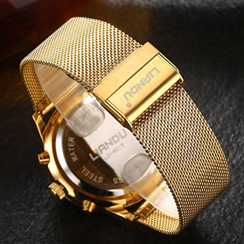 Pocciol Watches Waterproof Sport Watch Luminous Analog Quartz Business Luxury Dress Wrist Watch Casual Clock Watches for Men (Gold) by Pocciol (Image #2)