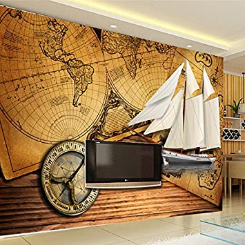 LWCX European Vintage Style Age Of Sail Themed Custom Retro Wallpaper Compass Sailboat Old Map Paper