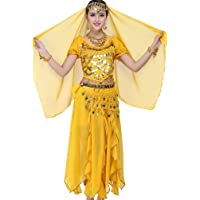TianBin Femmes Halloween Costume de Danse du Ventre Top+Jupe+Foulard+Bracelets Selon Votre Choix
