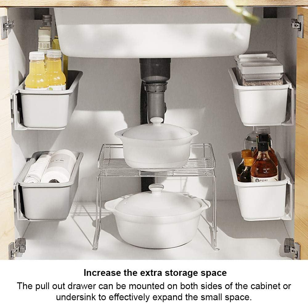 blanco Baffect Organizadores de cesta de gabinete de cocina extra/íble de 2 piezas,cajones de almacenamiento de pl/ástico deslizables,cesta deslizante de organizador de gabinete debajo del fregadero