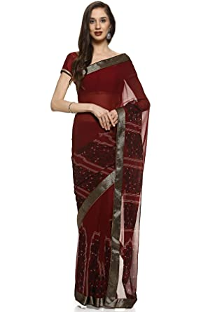 2d860b2920d41c Soch Maroon Poly- Georgette Printed Saree  Amazon.in  Clothing   Accessories