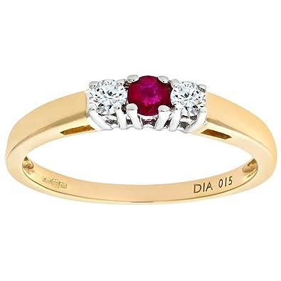 Naava Men's 9 ct Yellow Gold Set with Three Stones Diamond Trilogy Ring 2TbLnM2s6k