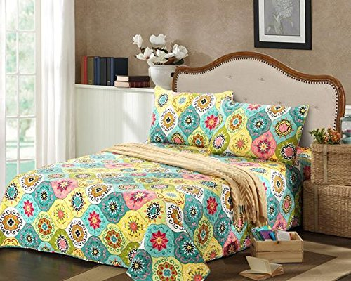 Tache 3 Piece Reversible Spring Flower Basket Floral Colorful Bedspread Quilt Set, Queen