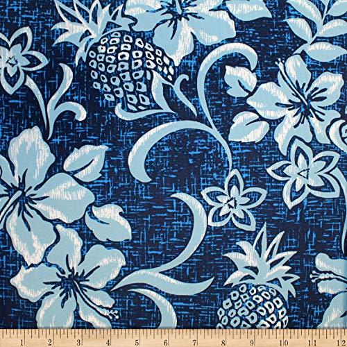 Trans-Pacific Textiles Hawaiian Retro Pineapple Pareo Indigo, Fabric by the Yard ()