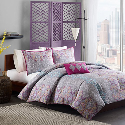 Teen Girl Comforter Set Super Soft To Touch Beautiful Pink Gray Paisley Pattern Printed Amp Hair Massage Comb Bonus Bundle Full Queen Buy Online In Cayman Islands At Desertcart Com Productid 40970768