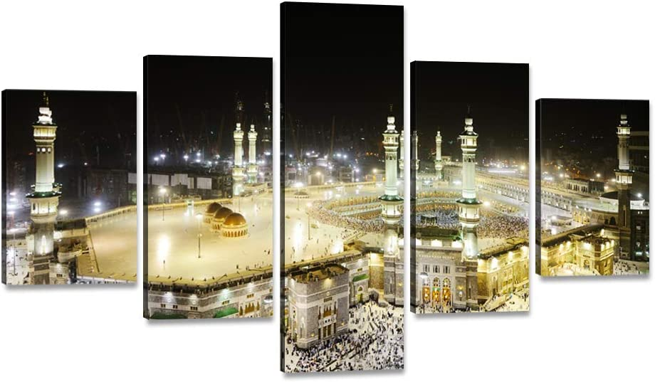 """Yatsen Bridge 5 Piece Wall Art Decor Islamic Muslim Mosque Canvas Painting Kaaba in Mecca Saudi Arabia Print Poster Artwork for Living Room Bedroom Office Stretched Framed Ready to Hang (60""""Wx40""""H)"""