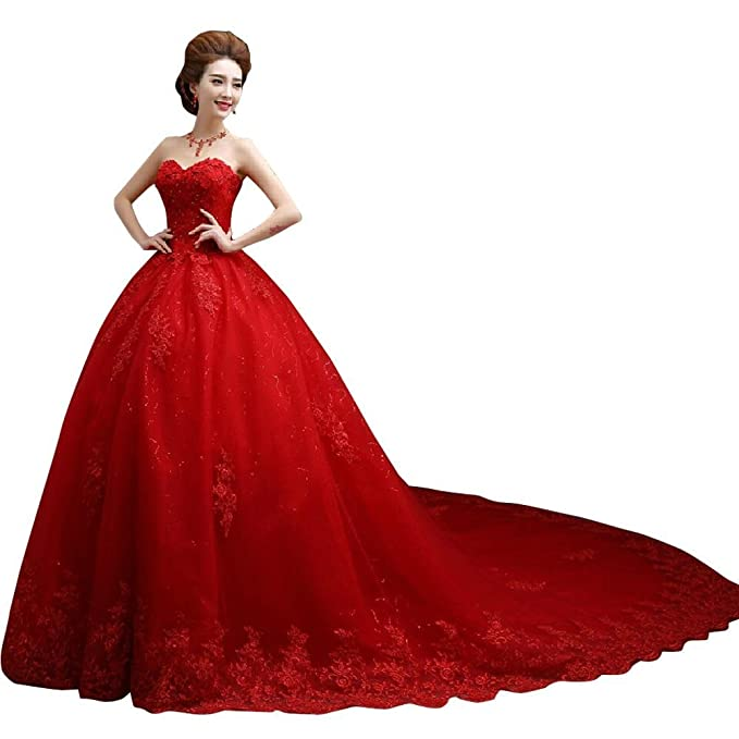 Women's Ball Gown Soft Net Sweetheart Wedding Dress Red S